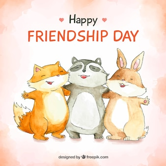 Friendship day background with happy animals