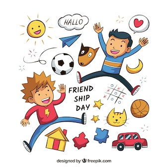 Friendship day background with happy friends