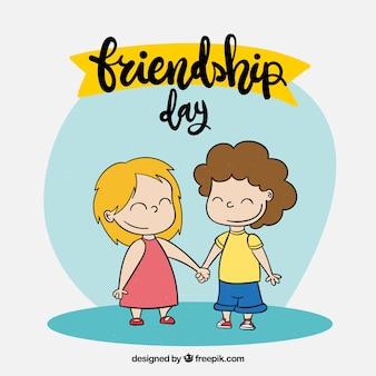 Fondo di giorno di amicizia con persone felici