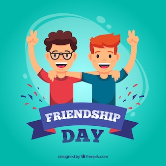 Friendship day background with happy people