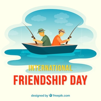 Friendship day background with men fishing