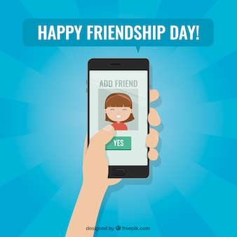 Friendship day background with mobile