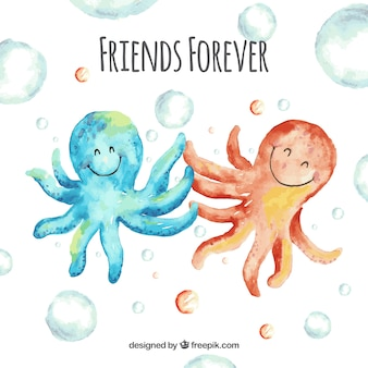 Friendship day background with octopus