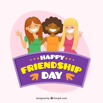 Friendship day background with smiling girls