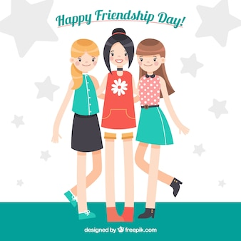 Friendship day background with three girls