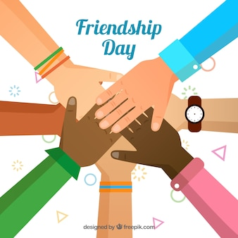 Friendship day background with united hands
