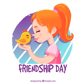 Friendship day backgroundwith girl and chick