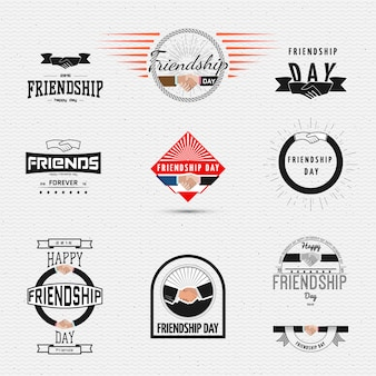 Friendship day badges logos and labels