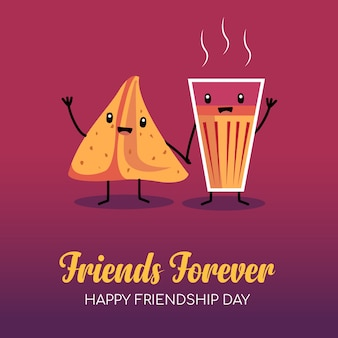 Friendship day card with indian chai and samosa