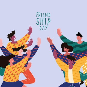Friendship day card with women and men