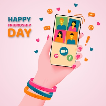 Friendship day. communication and congratulations by phone.