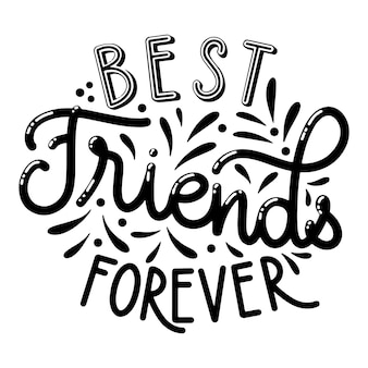 Friendship day hand drawn lettering. best friends forever. vector elements for invitations, posters, greeting cards. t-shirt design