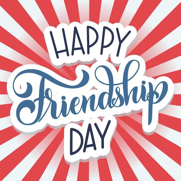 День дружбы рисованной надписи. элементы вектора синхронизации для приглашений, плакатов, поздравительных открыток. дизайн футболки. цитаты о дружбе.