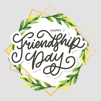 テキストと友情の日を祝うための要素を持つ友情日イラスト