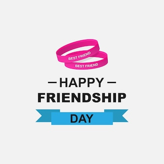 Friendship day logo. happy friendship day text and friendship bracelets with the inscription best friend. vector eps 10