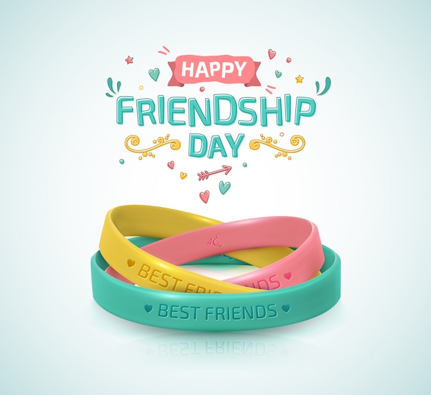 Friendship day. three rubber bracelets for friend band