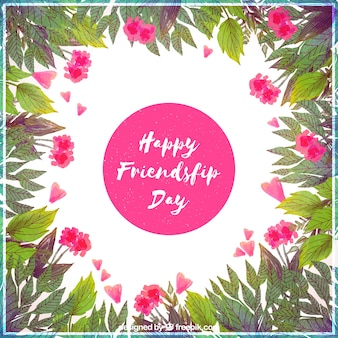Friendship day watercolor decorative floral background