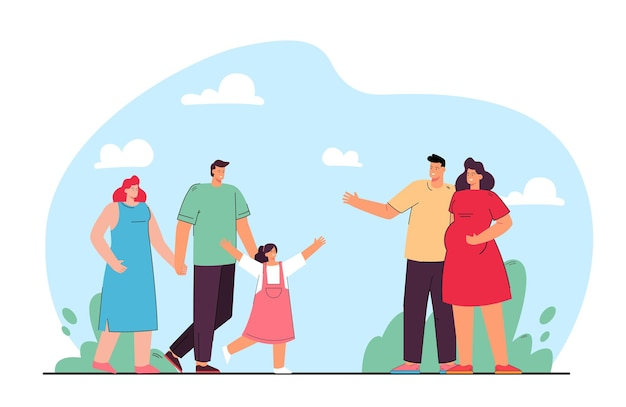 Friendship of families flat illustration