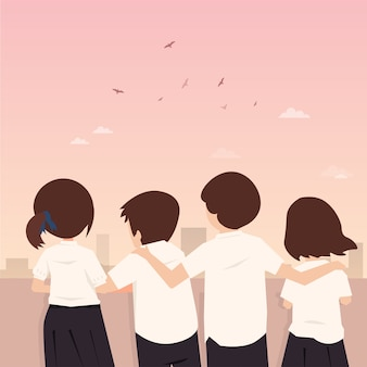 Friendship forever thai student character vector illustration