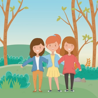 Friendship of girls cartoons design