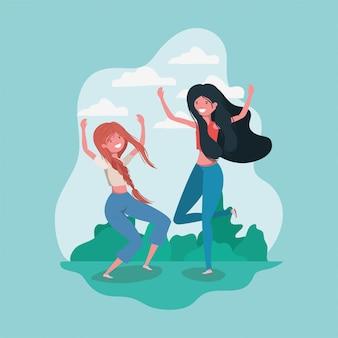 Friendship of girls cartoons
