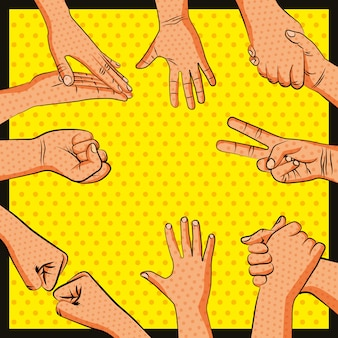 Friendship hands greeting pop art