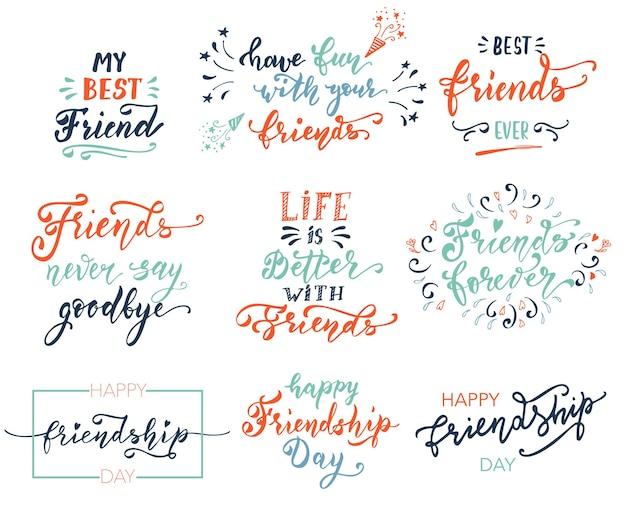 Дружба счастливая мотивационная цитата для футболки плакат печать мерч шаблон дизайна счастливые друзья перед ...