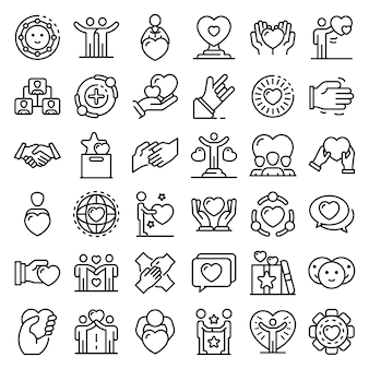 Friendship icons set, outline style