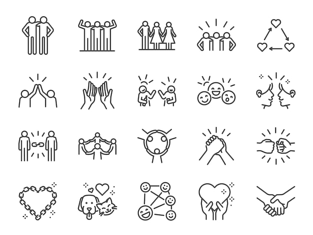 Friendship line icon set.