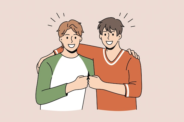 Friendship and positive emotions concept. two young smiling happy men friends standing pulling fists together as symbol of unity and friendship vector illustration