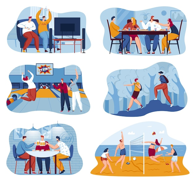 Friendship set vector illustration people man woman character happy together play video and table games bowling volleyball outdoor collection