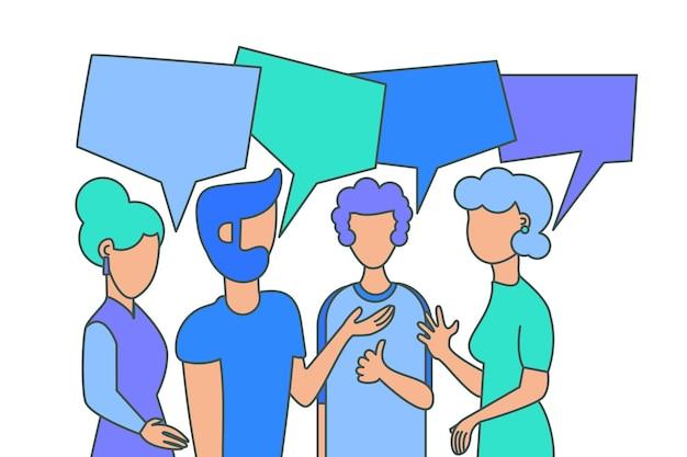 友情のベクトル図。若い人たちの漫画のキャラクター。社会的コミュニケーション、対話