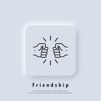 Friendships icon. fist icon. handshake of business partners. a human greeting. new normal. vector. ui icon. neumorphic ui ux white user interface web button. neumorphism