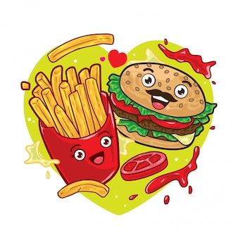 Картофель фри и гамбургер