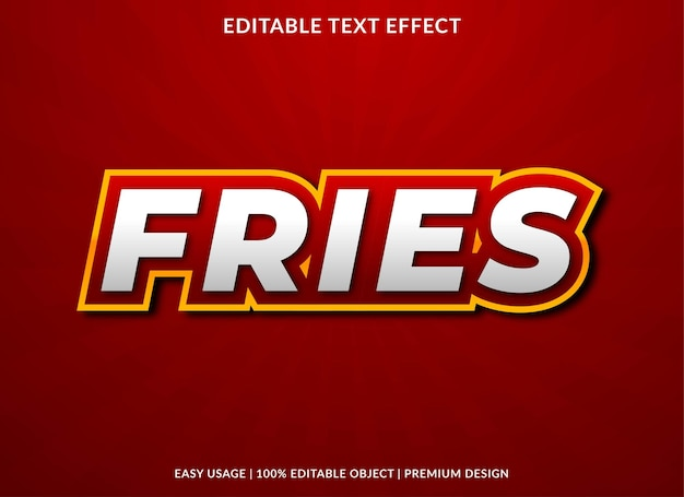 Fries text effect template premium style