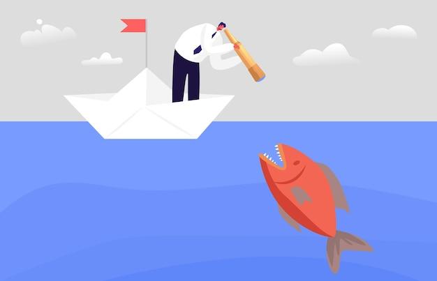 거대한 물고기와 함께 바다 물에서 망원경을 통해 보고 겁 먹은 비즈니스 캐릭터