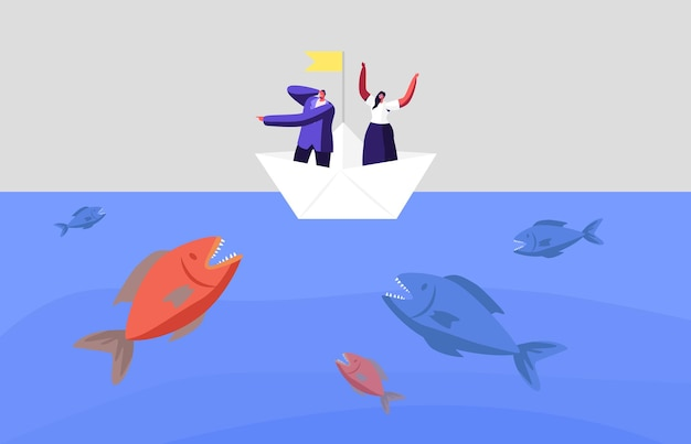 겁 먹은 비즈니스 캐릭터는 바다에서 거대한 물고기의 공격을 피합니다. 종이 보트에 비즈니스 사람들은 위기, 금융 파산을 피합니다