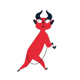 Испуганный мультфильм красный дьявол убегает, чувствуя опасность векторной плоской иллюстрации. путать маленький милый монстр уходит, держа хвост, изолированные на белом фоне. осторожно, ловкий, хитрый сатана.