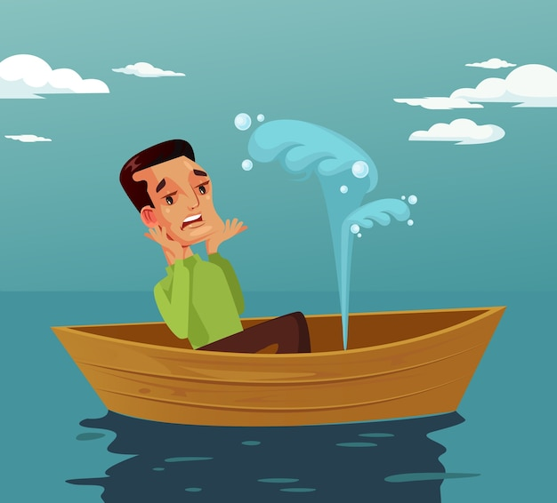 Frightened face expression man character sitting in broken boat accident disaster, flat graphic design cartoon isolated illustration