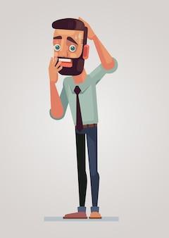 おびえた男のキャラクター。ベクトルフラット漫画イラスト