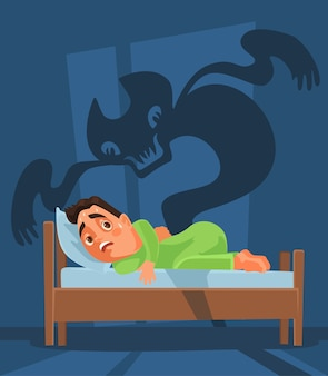 Frightened man character woke up and nightmare ghost.