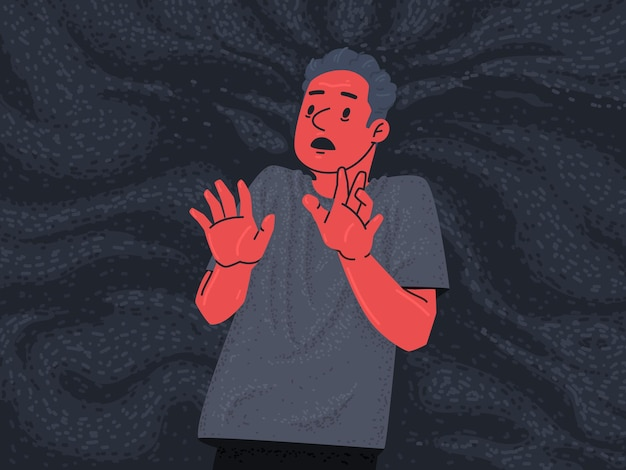 A frightened man in a pool of fear. phobias and mental disorders. vector illustration in flat style