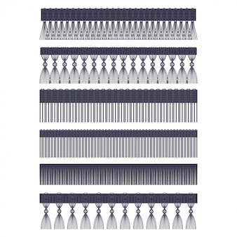 Fringe edge with brush and tassel trim vector set of seamless borders isolated on a white background.