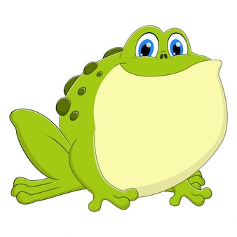A frog animal cartoon sitting and smiling