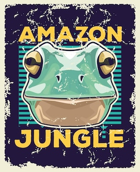 カエルの動物の野生の頭とアマゾンのジャングルのレタリングのイラスト