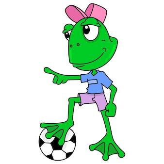 Мальчик-лягушка играет в футбол, каракули рисовать каваи. искусство иллюстрации