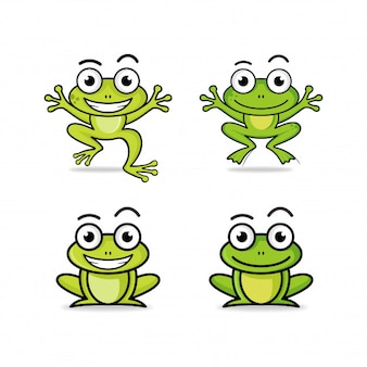 Frog cartoon character logo collection