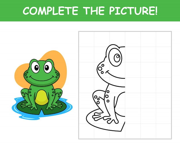 Frog cartoon, complete the picture