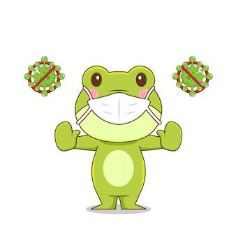 고립 된 바이러스에 대 한 개구리 캐릭터 싸움