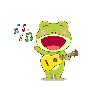 Frog character palying guitar isolated